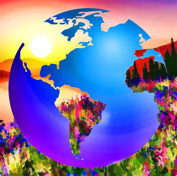 3d Render Of Planet Earth Art Print featuring the digital art 3d Render Of Planet Earth 18 by Jeelan Clark