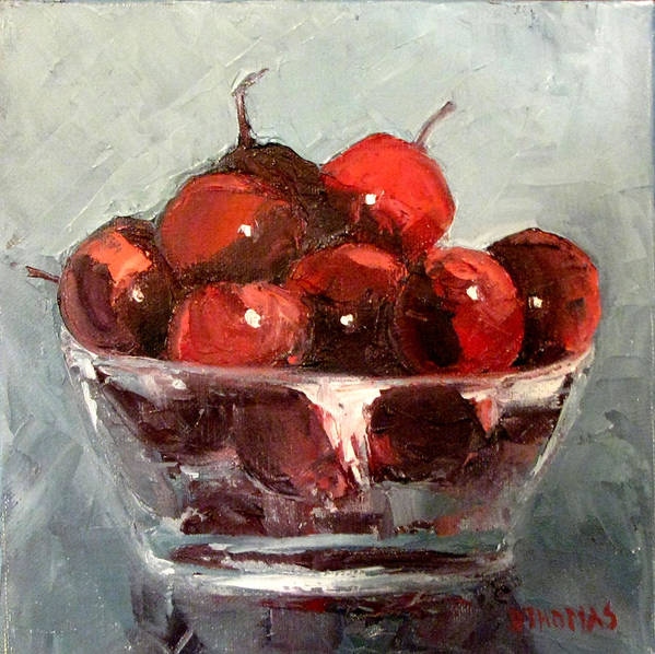 Still Life Art Print featuring the painting A Bowl Full Of Cherries by Donna Thomas