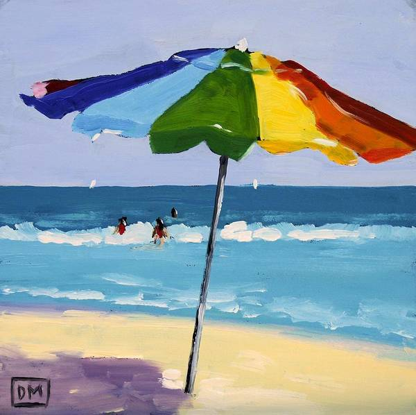 Beach Art Print featuring the painting A Colorful Spot by Debbie Miller