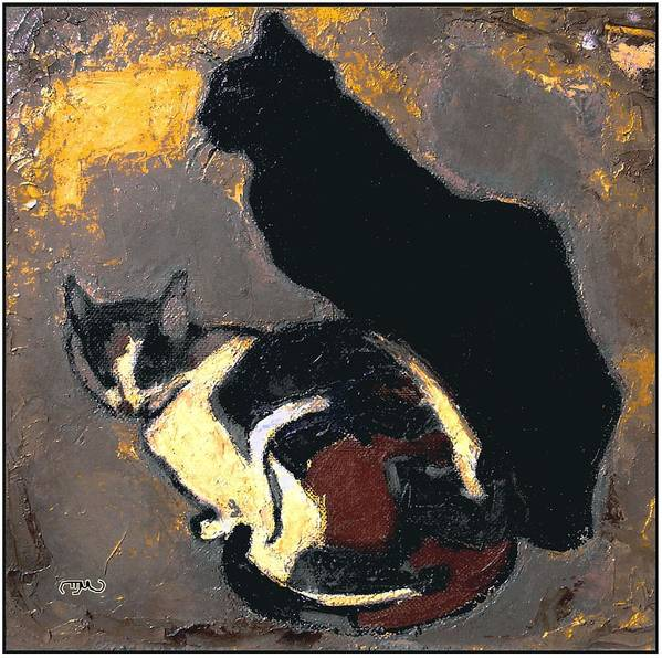 Animals Art Print featuring the painting A Replica Of The Cats By Theophile Alexandre Steinlen by Pemaro