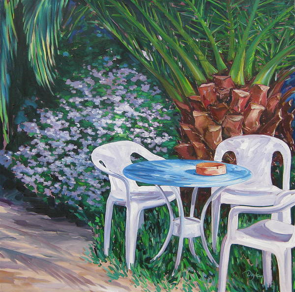 Palm Tree Art Print featuring the painting Afternoon Break by Karen Doyle