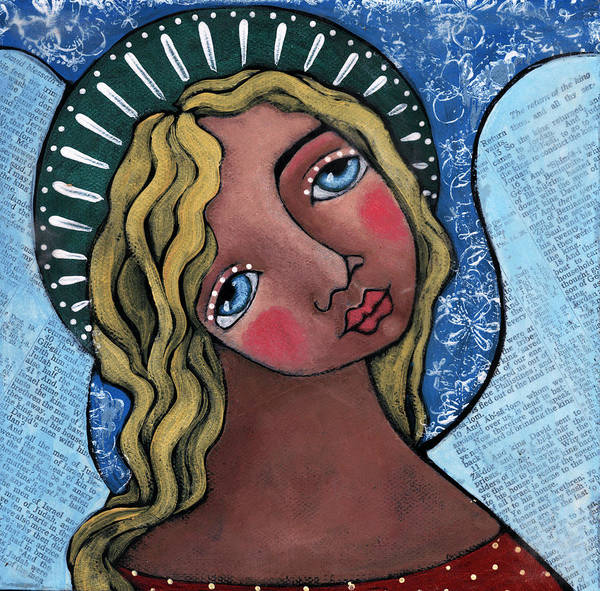 Angel Art Print featuring the painting Angel With Green Halo by Julie-ann Bowden