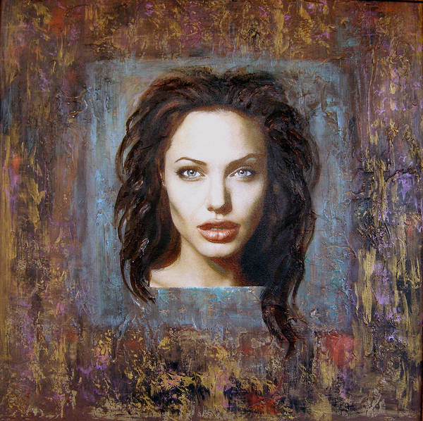 Portrait Art Print featuring the painting Angelina Jolie by Jeannette Ulrich