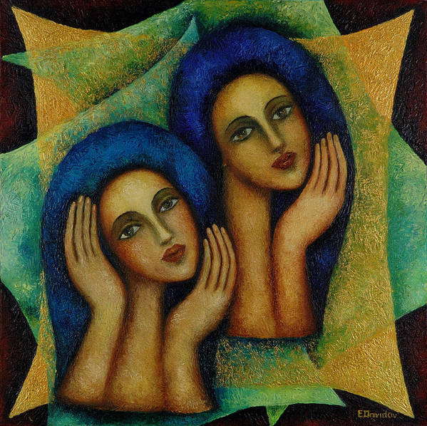 Angels Art Print featuring the painting Angels In Blue. by Evgenia Davidov