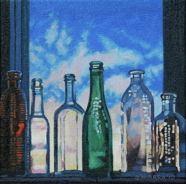 Bottles Art Print featuring the painting Antique Bottles At Dawn by Allan OMarra