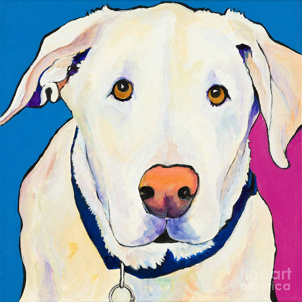 White Lab Yellow Lab Animal Paintings Golden Eyes Square Format Dogs Pets Rescued Art Print featuring the painting Aslinn by Pat Saunders-White