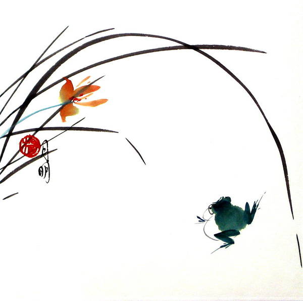 Chinese Painting Art Print featuring the painting At Gaze by Ming Yeung