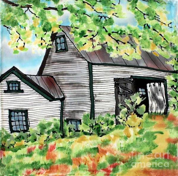 Silk Painting Print featuring the painting August Barn by Linda Marcille