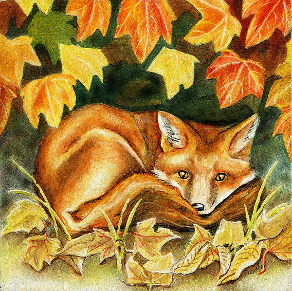 Autumn Art Print featuring the painting Autumn Fox by Antony Galbraith