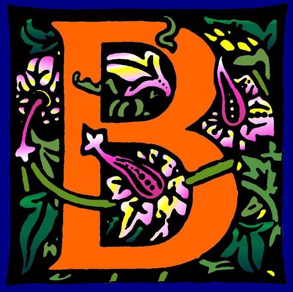 Alphabet Art Print featuring the digital art B In Orange by Kathleen Sepulveda