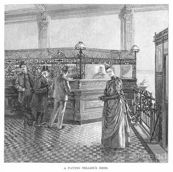 19th Century Print featuring the photograph Banking, 19th Century by Granger