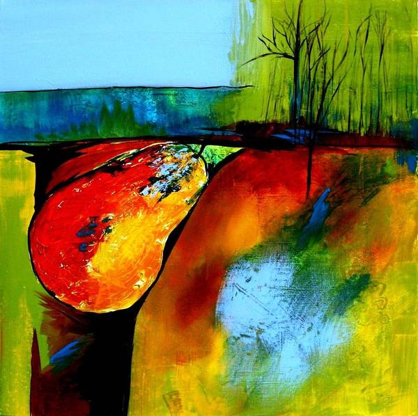 Modern Art Print featuring the painting Between A Pear And A Rock by Jane Robinson