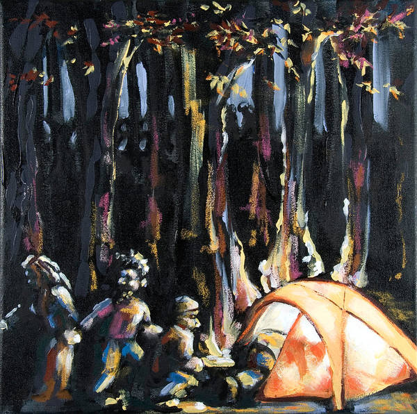 Tent Art Print featuring the painting Big Orange Tent Part 1 by Dannielle Murphy