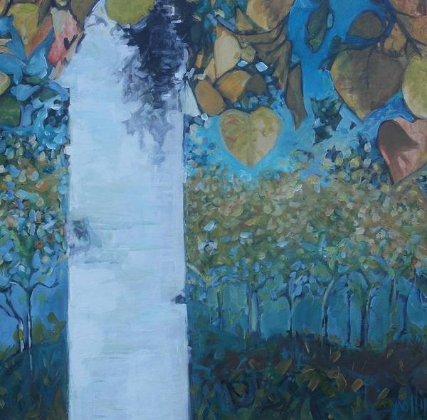 Birch Art Print featuring the painting bIrCh LanE by Cindy Collins