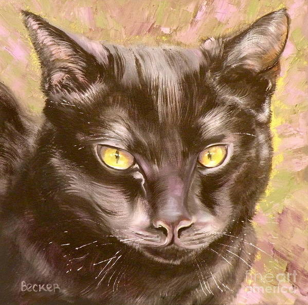 Cat Art Print featuring the painting Black Pearl by Susan A Becker