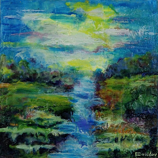 Water Art Print featuring the painting Blue Landscape. by Evgenia Davidov