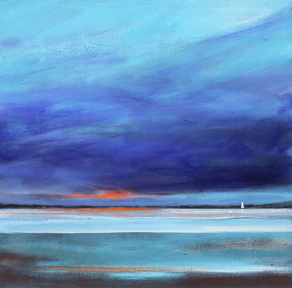 Minimalist Art Print featuring the painting Blue Night Sail by Toni Grote