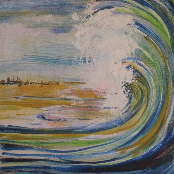 This Small Square Painting Depicts An Ocean Wave Crashing On A Beach. Abstract Town In The Background. Rendered In Whites Art Print featuring the painting Breaker by Georgia Annwell