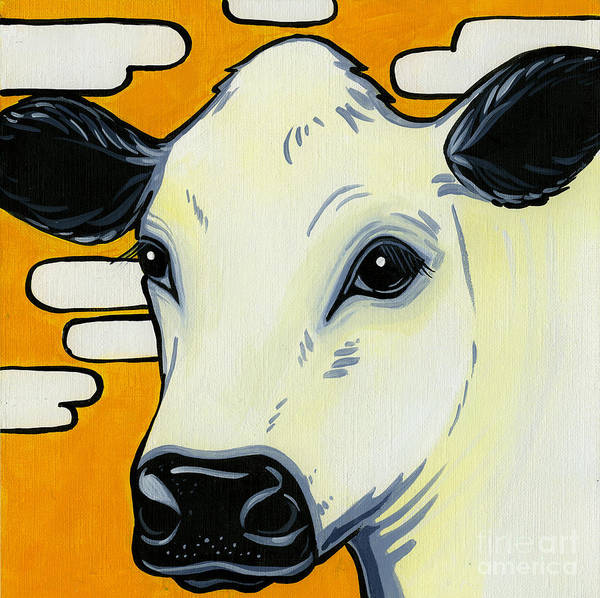 British White Cow Art Print featuring the painting British White by Leanne Wilkes