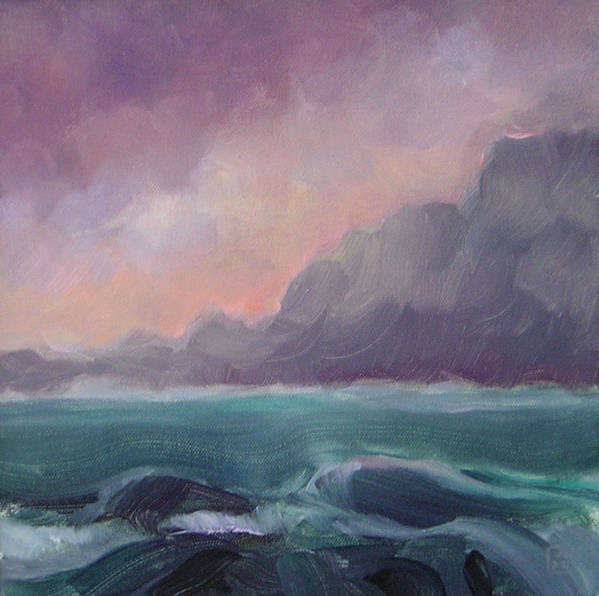 Seascape Art Print featuring the painting Brooding Tide by Mary Brooking