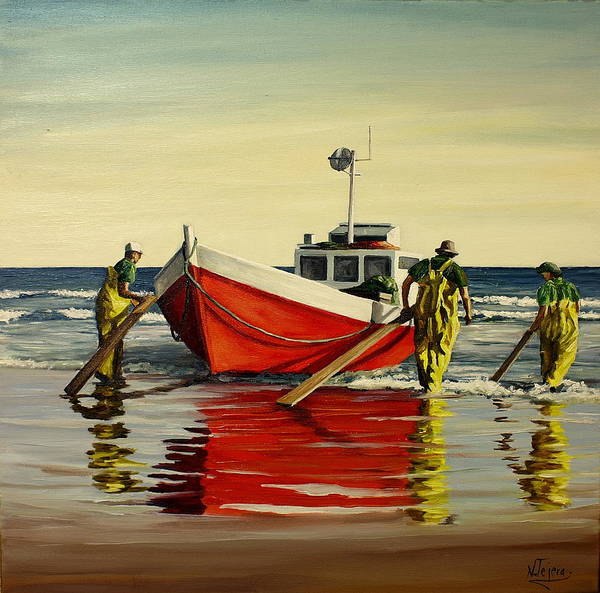 Boat Art Print featuring the painting Cabo Polonio Fishing by Natalia Tejera