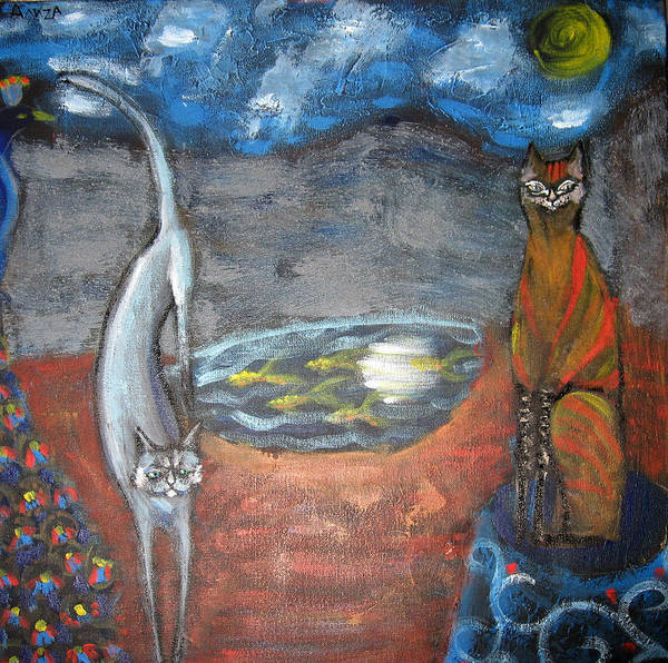 Cat Art Print featuring the painting Cat's Dreams by Aliza Souleyeva-Alexander