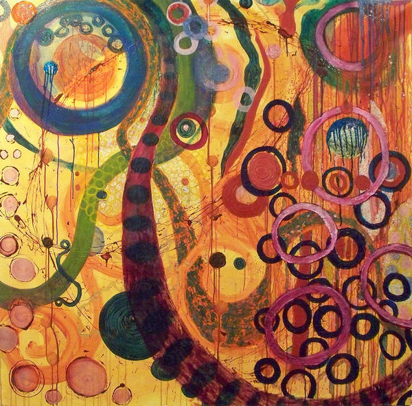 Abstract Art Print featuring the painting Celebration by Julia Collard