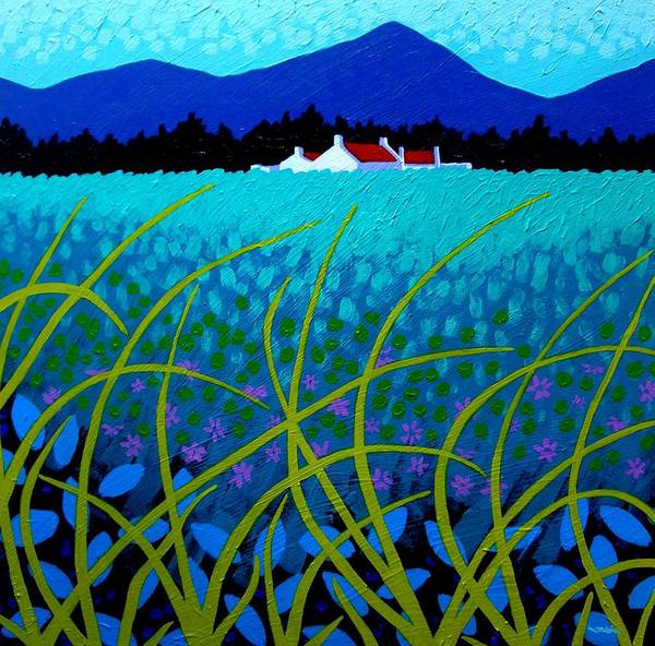 Landscape Print featuring the painting Cerulean Hills by John Nolan