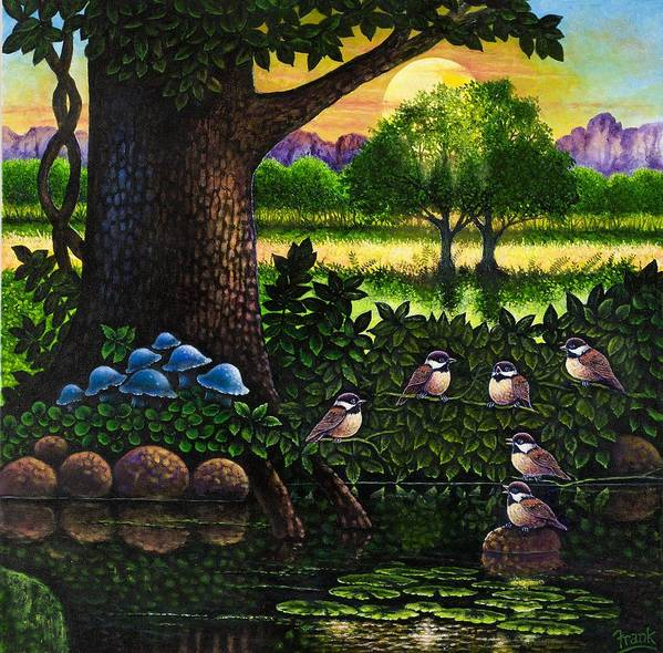 Bird Art Print featuring the painting Chicadees by Michael Frank