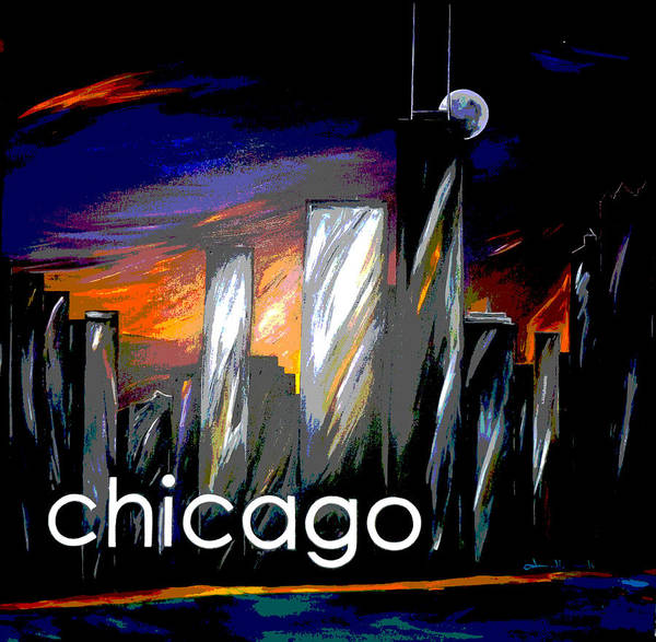 Chicago Art Print featuring the painting Chicago Night Skyline by Jean Habeck