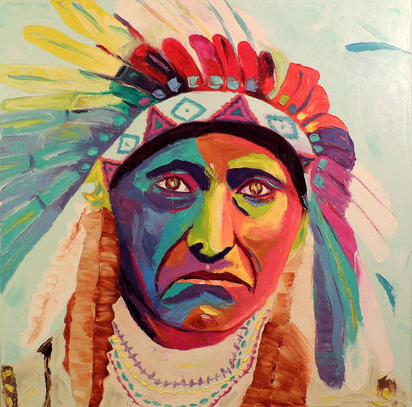 Oil On Canvas By Arturo Garcia Art Print featuring the painting Chief Joseph by Arturo Garcia