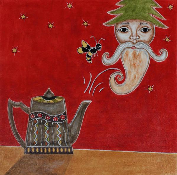 Folk Art Paintings Art Print featuring the painting Christmas Morning by Rain Ririn