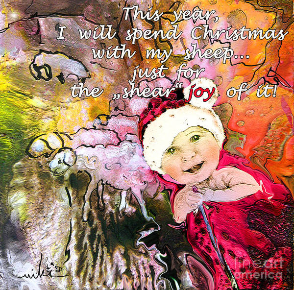 Acrylics Art Print featuring the painting Christmas With My Sheep by Miki De Goodaboom