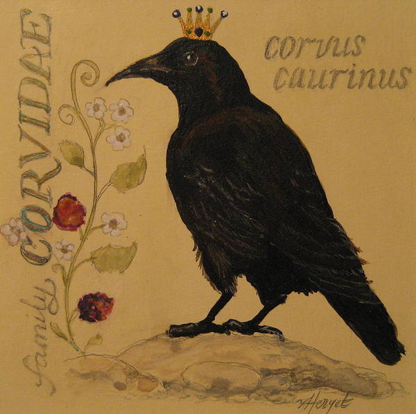 Crow Art Print featuring the painting Corvus Caurinus by Victoria Heryet