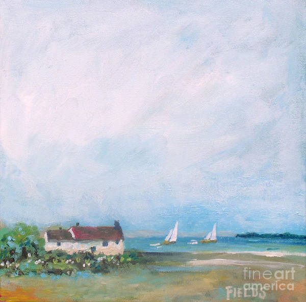 Beach Art Print featuring the painting Cottage By The Sea by Karen Fields