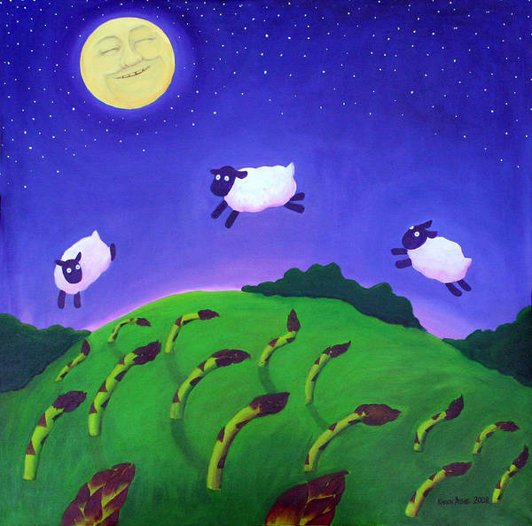 Sheep Art Print featuring the painting Counting Sheep by Karen Aune