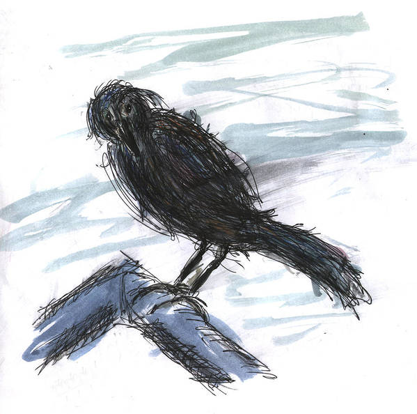 Kevin Callahan Art Print featuring the painting Crow In The Wind by Kevin Callahan