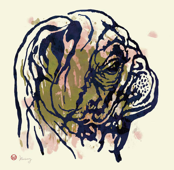 Dog Stylised Pop Morden Art Drawing Sketch Portrait. Pet Art Print featuring the mixed media Dog Portrait - Pop Art Poster by Kim Wang