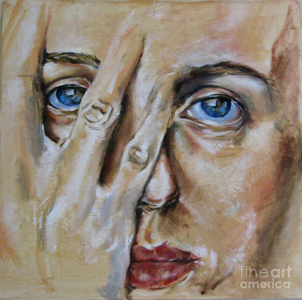 Postrait Art Print featuring the painting Don't Hide by Iglika Milcheva-Godfrey