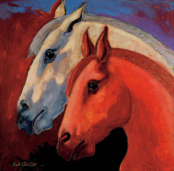 Animal Art Art Print featuring the painting Dos Equus by Bob Coonts