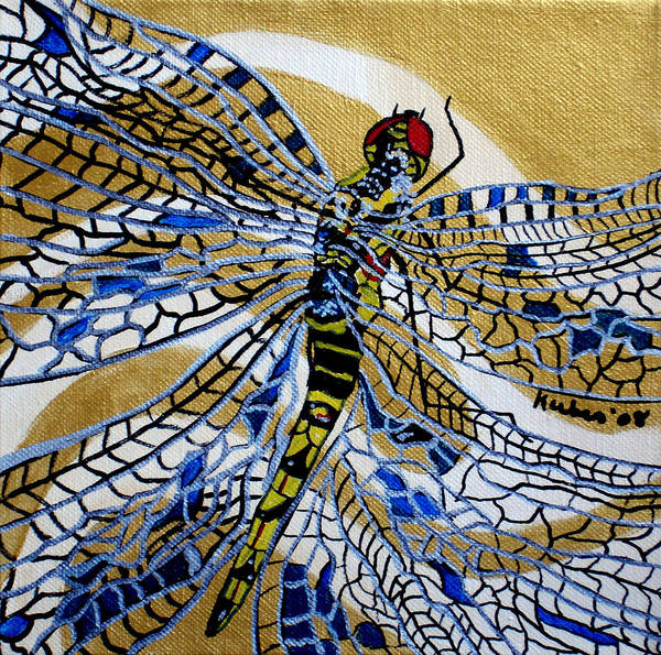 Dragonfly Art Print featuring the painting Dragonfly On Gold Scarf by Susan Kubes