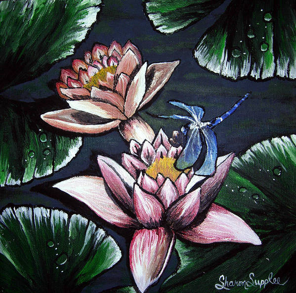 Dragonfly Art Print featuring the painting Dragonfly Pond by Sharon Supplee