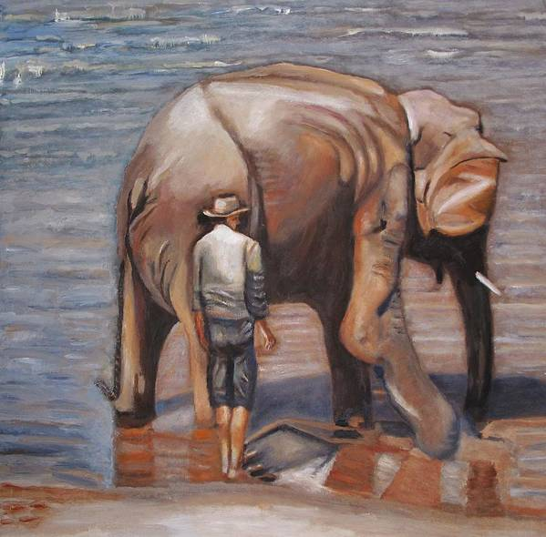 Elephant Art Print featuring the painting Elephant Man by Keith Bagg