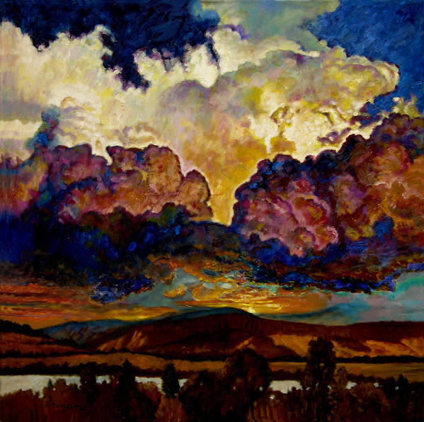 Sunset Art Print featuring the painting Evening Clouds Over The Valley by John Lautermilch