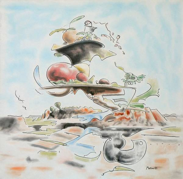 Abstract Art Print featuring the painting Fast Food by Dave Martsolf