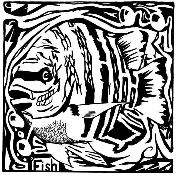 Fish Art Print featuring the drawing Fish Maze by Yonatan Frimer Maze Artist