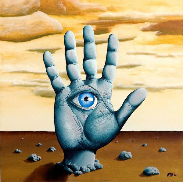 Hand Eye Hamsa Desert Surrealism Landscape Dream Art Print featuring the painting Five by Poul Costinsky