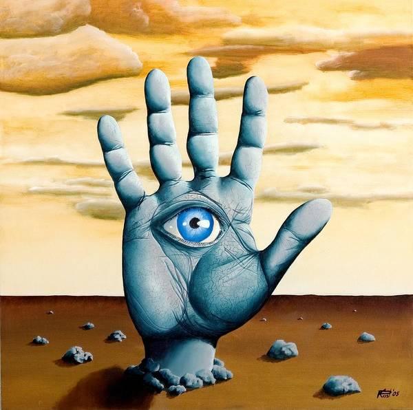 Hand Eye Hamsa Desert Surrealism Landscape Dream Art Print featuring the painting Five by Poul Costinsky
