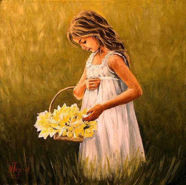 Girl Art Print featuring the painting Flower S Basket by Natalia Tejera