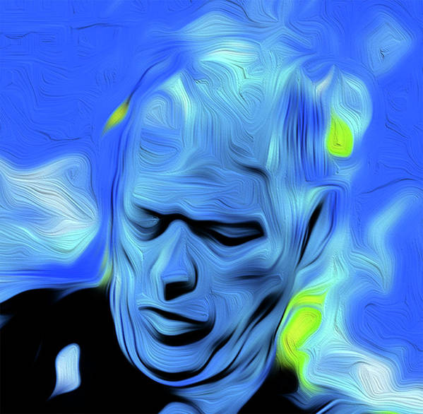 David Gilmour Art Print featuring the painting Gilmour Blue Nixo by Never Say Never